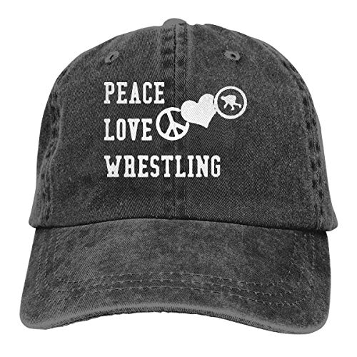 Hoswee Unisex Kappe/Baseballkappe, Peace Love Wrestling Men/Women Fashion Adjustable Baseball Cap Jeans Back Closure Flat Bottom Cap