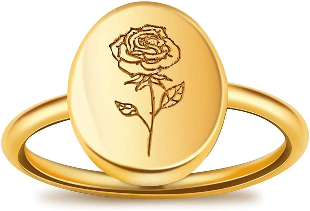 LUIWIN Birth Flower Signet Inventory cleanup selling sale Product Ring 18K Fl Oval Stacking Plated Gold