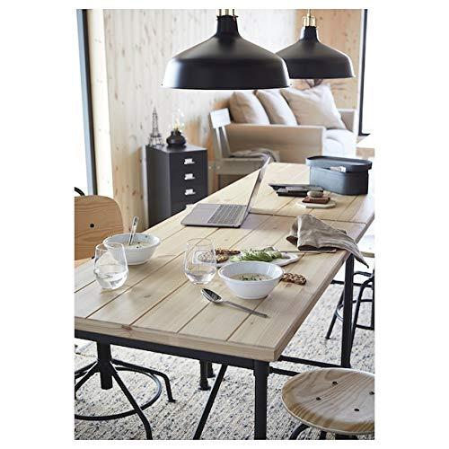 Tok Mark Traders KULLABERG Escritorio pino, negro, 110 x 70 cm, duradero y fácil de cuidar, hasta 4 asientos, mesas de comedor, escritorios, muebles, respetuoso con el medio ambient