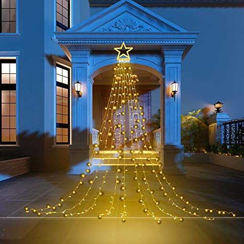 PUHONG Christmas Decoration Outdoor Star String Lights,16.4Ft Christmas Tree Toppers Lights 320 LED 8 Memory Modes with 14' Lighted Star for Halloween Christmas New Year Holiday Birthday(Warm White)