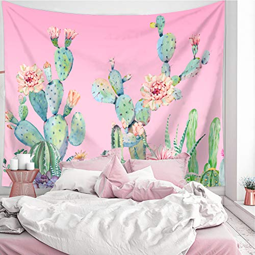 Pink Cactus Tapestry Wall Hanging, Flower Wall Tapestry Plant Art Wall Blanket for Bedroom Living Room Dorm Home Decor (Pink Cactus, 130X150CM S:51X59inch))