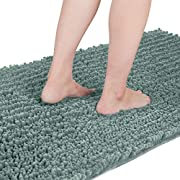 Yimobra Original Luxury Chenille Bath Mat, 44.1 x 24 Inches, Soft Shaggy and Comfortable, Large Size, Super Absorbent and Thick, Non-Slip, Machine Washable, Perfect for Bathroom, Greyish Green