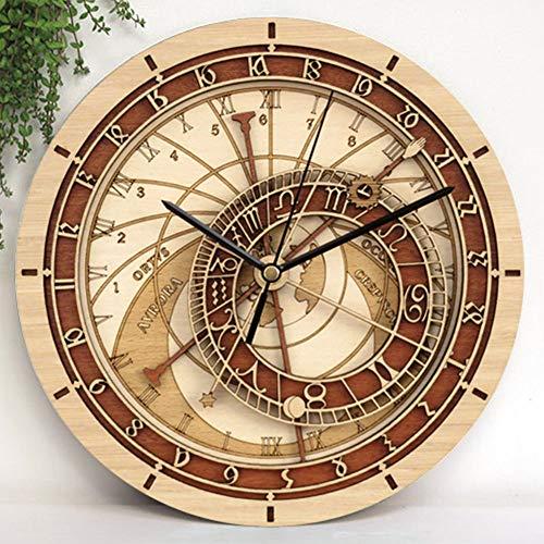 Scra AC Reloj de pared de madera minimalista moderno reloj de pared redondo retro de moda creativo bolsillo de silencio (33 x 33 cm)