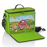 Bolsa para bloques de construcción con placa de construcción plegable, color verde granja, tamaño L, compatible con grandes bloques de construcción como Lego Duplo, incluye bolsa de red