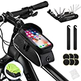 """Bike Bag, Bicycle Phone Front Frame Bag Waterproof Cycling Pouch with TPU Touch Screen Bike Phone Mount Holder Accessories Top Tube Bag, for iPhone, Samsung, Below 6.5"""" - with Bicycle Repair Tool Kits"""