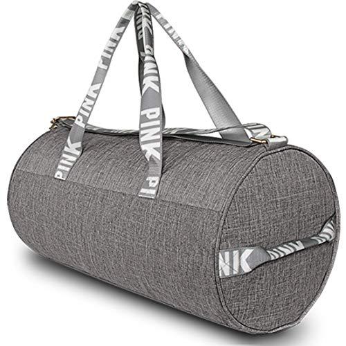 AISPARKY Gym Shoulder Bag, Lightweight Duffle Bag Sports Bag Weekend Travel Barrel Bag, Grey