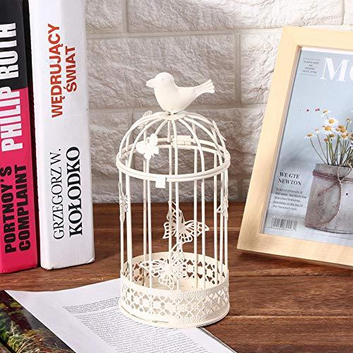 Candelabro retro Boda decorativa en forma de jaula para la decoración del hogar Escritorio Mesa(white)