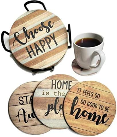PANCHH Rustic Farmhouse Stone Cork Coasters for Drinks Absorbent Set of 6 Coasters with Holder product image
