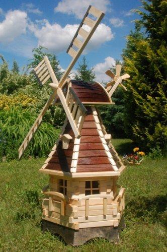 Deko-Shop-Hannusch Windmühle, Gartenwindmühle, Windmühlen aus Holz, kugelgelagert Beleuchtung Solar 1,25m (braun)