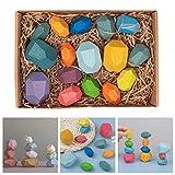 Tiggrioe Steine Spielzeug für Kinder über 3 Jahre alt, natürliche Holz Balance Block farbigen Holz Stein Stapeln Spiel Rock Block Set Balance pädagogische Spielzeug, Desktop-Dekor (F-16PCS)