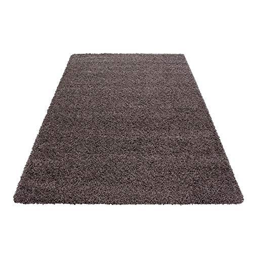 Hochflor Shaggy Teppich für Wohnzimmer Langflor Pflegeleicht Schadsstof geprüft 3 cm Florhöhe Oeko Tex Standarts Teppich, Maße:80x150 cm, Farbe:Taupe