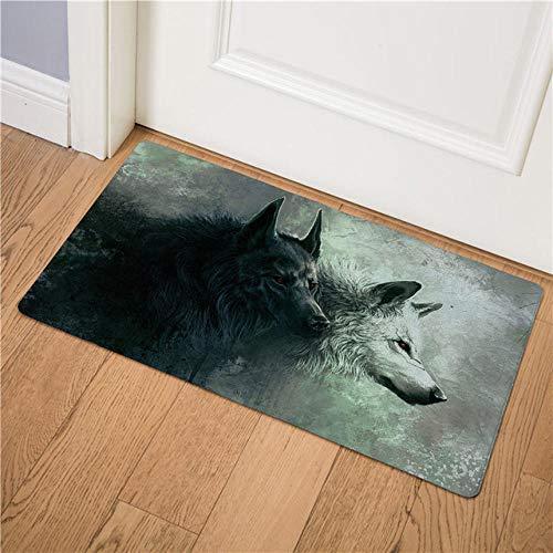 Kpdar Felpudo Dos Animales Lobo De Fantasía Entrada De Casa Alfombra Lavable Antideslizante Alfombras De Baño Alfombra De La Puerta Tapetes 45X75Cm/ 17.70X 29.50 Pulgadas