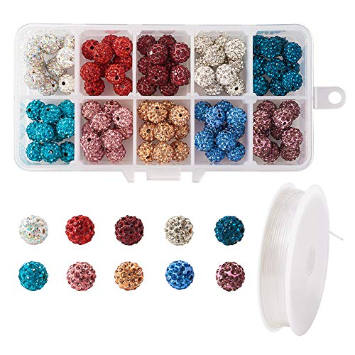 Beadthoven 1Box/100pcs 10mm Mixed Color Pave Czech Crystal Rhinestone Clay Spacer Beads Round Polymer Disco Ball Beads Charms with Elastic Crystal Thread for Shamballa Jewelry Making