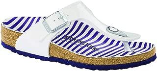 Gizeh Limited Edition Kids Birko-Flor Narrow Sandals, Nautical Stripes White (NTCLSTRPSWHT), 32