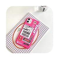 蛍光DHL Expressシートラベル電話ケースfor iPhone 11 Pro Max XR X XS Max 7 8 Plus SE 2 2020カバー透明ソフトケース-KL206-pink-For iphone8plus