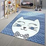 TT Home Alfombra infantil moderna con diseño de gato con pajarita, color azul y blanco, tamaño: 120 x 170 cm