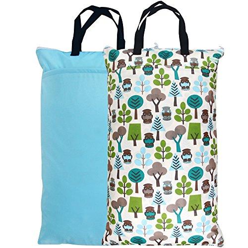 Wegreeco Reusable Hanging Wet Dry Cloth Diaper Bag (2 Pack, Blue Sky, Owl)