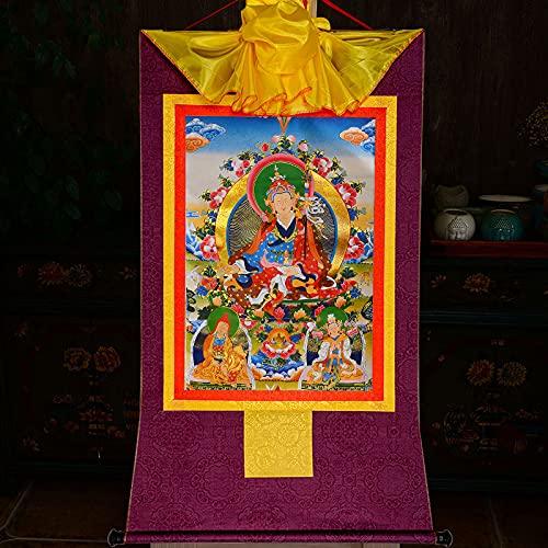 Gandhanra Tapiz budista tántrico tibetano para colgar en la pared, tres formas de gurú Rinpoche, Lotus Born, estampado en caliente, para decoración del hogar Zen (morado, grande (85 x 63 cm)