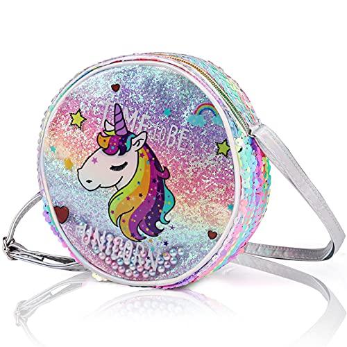 Jolintek 2Pcs Einhorn Umhängetasche Einhorn für Mädchen, Handtasche Schultertasche, Mädchenhandtasche für Kinder, Katze Cross Body Messenger Bag
