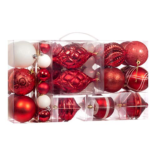 70-Pcs Red Christmas Ball Ornaments Assorted Shatterproof Christmas Ball Set with Reusable Hand-held Gift Package for Xmas Tree Decoration