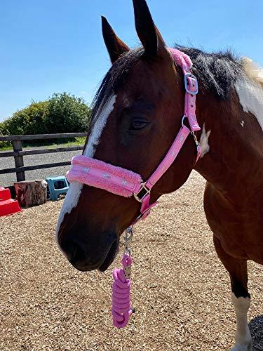 Equipride Collares de cabeza de nailon con forro de imitación con cuerda de plomo a juego, color rosa (mazorca)