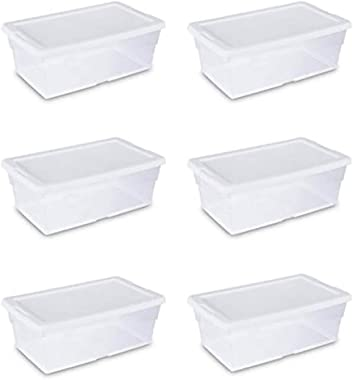 STERILITE 16428012 6 Quart/5.7 Liter Storage Box, White Lid with Clear Base (Pack of 6)
