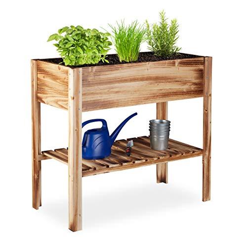 Relaxdays Hochbeet Holz, Ablagefach, Pflanzkasten Balkon, Terrasse, Garten, Kräuterbeet, HBT 80 x 88 x 43,5 cm, geflammt