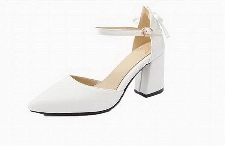 AmoonyFashion Women's Pu Closed-Toe High-Heels Buckle Sandals