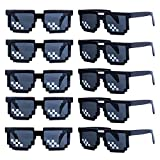 kilofly 10pc 8-Bit Pixel UV Protect Gamer Sunglasses Adult Kids Party Favors (black)