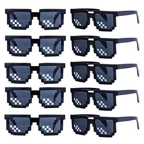 kilofly 10pc 8-Bit Pixel UV Protect Gamer Sunglasses Adult Kids Party Favors (black)