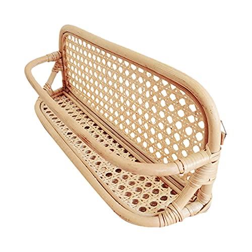 Kristy Estante de ratán, cesta tejida, ratán natural, cestas decorativas y organizador de baño para sala de estar, baño, 40 x 11 x 16 cm