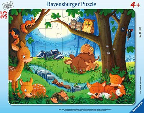 Ravensburger Kinderpuzzle - 05146 Wenn kleine Tiere schlafen gehen - Rahmenpuzzle für Kinder ab 3 Jahren, mit 35 Teilen