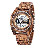 Wooden Watches, shifenmei S2139 Multifunctional Wooden Watches for Men Japanese Movement and Battery Lightweight Digital Watches Analog Quartz Handmade Wood Watch with Gift Box (Zebra Wood)