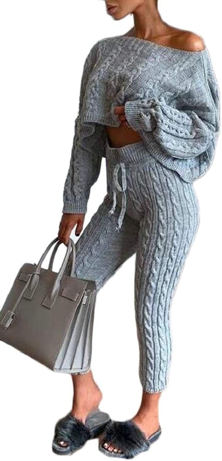 XQS Womens Long Sleeve Cable Knit Sexy Sweater and Legging Two Piece Outfits