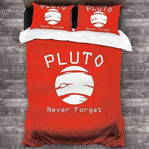 SFWER Pluto Never Forget Funda nórdica Juego de edredones de Dormitorio Tamaño 86 'x 70' Juego de Cama de 3 Piezas con 2 Fundas de Almohada con Cierre de Cremallera