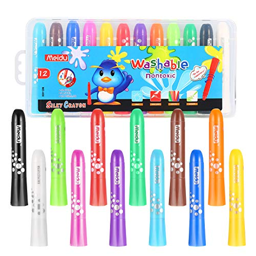 Homkare Gel Crayons, 12 Colors Washable Non Toxic Silky Crayons Twistable Drawing Crayons, Crayons Pastel for Kids and Children