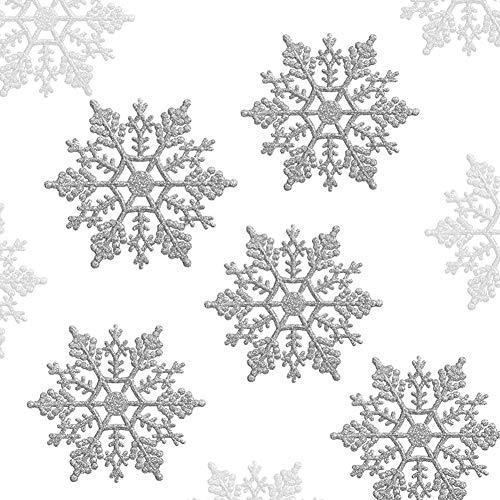 LinTimes 36 PCS Schneeflocken Weihnachtsbaum Deko, Weihnachtsschmuck Schneeflocken Weihnachtsdeko Zum Aufhängen (Silber)