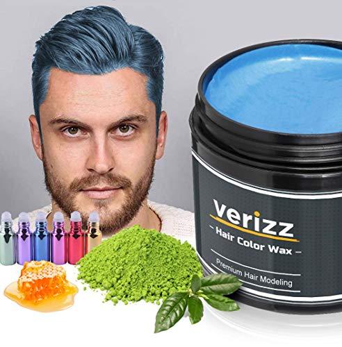 Verizz Coloured Hair Wax | Kleur Wax Haren | Tijdelijke haarkleuring in actuele modekleuren | Kleur Wax in aantrekkelijke kleuren voor moderne kapsels | Nieuw haarkleur systeem (BLAUW)