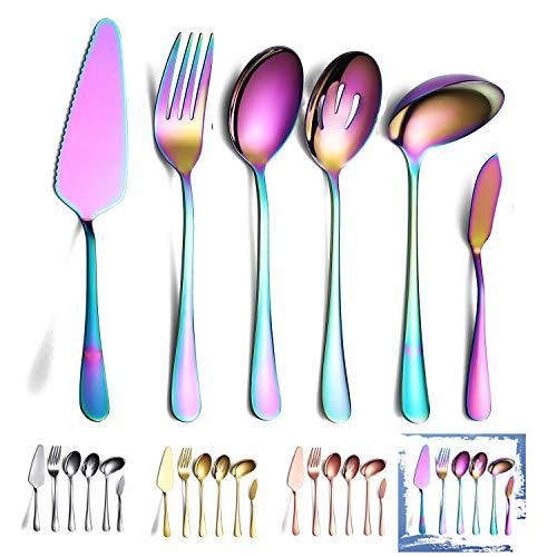 Rainbow Serveerlepels Set 6 Stuks, Serveergerei Set Inclusief Taartschep Sleuf Lepel Serveerlepel Serveervork Pollepel…