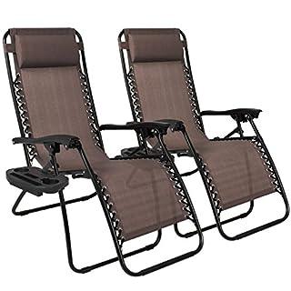 سعر Best Choice Products Set of 2 Adjustable Zero Gravity Lounge Chair Recliners for Patio, Pool w/Cup Holders - Beige