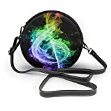 naotaori Bolso redondo mujer Women's Round PU Leather Crossbody Purse Shoulder Bag Colored Flames Musical Note Circle Tote Hobo Bag For Women Sling Bag