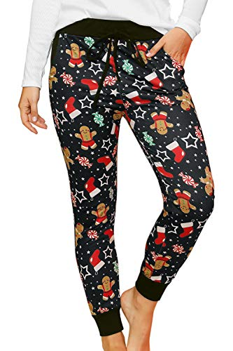 For G and PL Womens Christmas Gingerbread Pants Xmas Jogger Cotton Hight Waist Drawstring Lounge Pants M