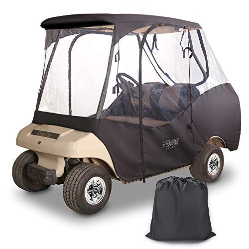 10L0L 4 Passenger Golf Cart Driving Enclosure (2 Passenger Short Roof 58' with Bench) for Club Car DS,Waterproof Portable Drivable Golf Cart Storage Cover,Travel 4-Sided Enclosure (Black/Transparent)