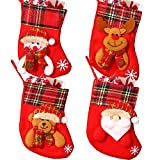 JAHEMU Calcetines Navidad Medias de Navidad Christmas Stocking Mini Botas Bolsa de Regalo Dulces Presenta Bolsa Decoraciones de Navidad 4 Piezas (Santa/Muñeco de Nieve/Reno/Oso)