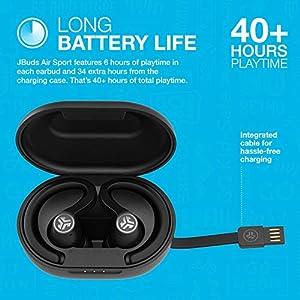 JLab JBuds Air Sport True Wireless Bluetooth Earbuds + Charging Case | Black | IP66 Sweat Resistance - Class 1 Bluetooth 5.0 Connection | 3 EQ Sound Settings JLab Signature, Balanced, Bass Boost