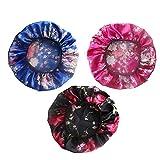 SEVENSTONE 1-3 Pcs Soft Satin Hair Bonnet for Women Girls Silk Sleeping Salon Cap Bonnet Set