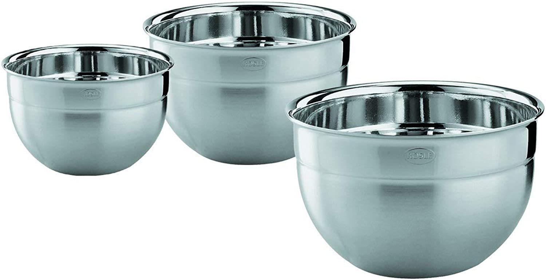 Rosle 15700 3 Piece Stainless Steel Mixing Prep Bowl Set, 1.7qt, 3.3qt, 5.7qt