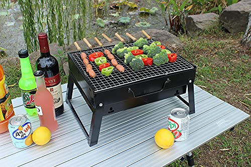 BBQ Grill, Charcoal Barbecue Grill, Fire Pit, Folding, Portable Grill, for Outdoor Cooking Camping Hiking, Picnics Trips (Large 45x29x24 cm)