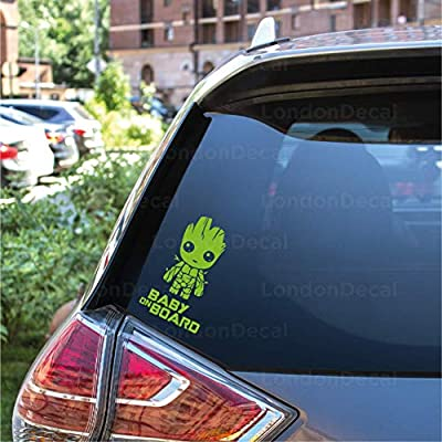 Guardians of the Galaxy Baby Groot LondonDecal BABY ON BOARD Car Window Bumper Vinyl Decal Sticker