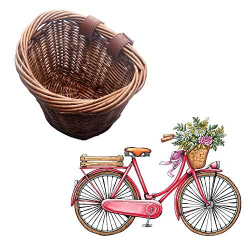 SUNERLORY Cestino da Bici per Bambini retrò, Cestino da Bicicletta in Vimini Vintage da 16 Pollici con Cinturini Manubrio Marroni, Resistente all'Acqua Staccabile